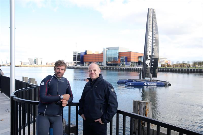 Artemis Technologies Chief Executive Iain Percy OBE, left, joined the firm's Head of Innovation Mark Gillan in Belfast last October to launch plans to establish a new facility in Belfast Harbour photo copyright Belfast Harbour taken at  and featuring the AC45 class