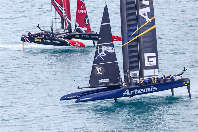 Emirates Team New Zealand vs. Artemis Racing on day one of the Louis Vuitton America's Cup Challenger Playoffs - photo © ACEA 2017 / Gilles Martin-Raget
