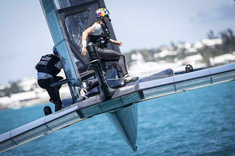 Skipper of the Oracle Team USA Jimmy Spithill and grinder Graeme Spence of Australia sail during the Louis Vuitton America's Cup Match in Hamilton, Bermuda photo copyright Sander van der Borch / ACEA / Red Bull Content Pool taken at  and featuring the AC50 class