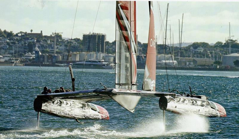 In what must surely be a near perfect marriage of design, Technology and application (to say nothing of the photo that this produced) the New Zealand AC 50 really did start to make people think that 'foiling could be the future' - photo © Richard Gladwell