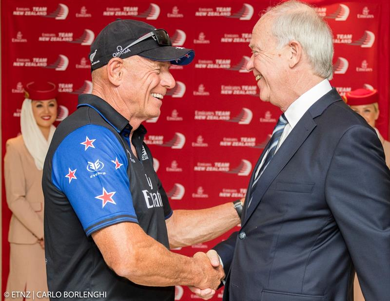 Grant Dalton with the President of Emirates Airlines, Sir Tim Clark - photo © Emirates Team New Zealand