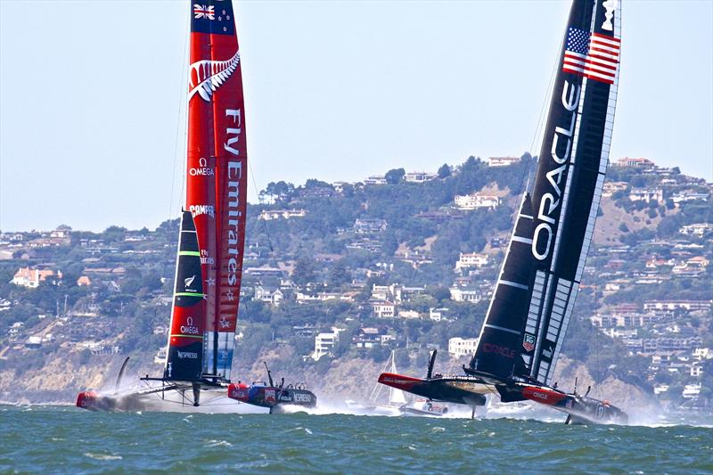 NZ Government took a sponsorship position with Emirates Team New Zealand -displaying their Fern logo on the race boat in san Francisco photo copyright Richard Gladwell taken at Takapuna Boating Club and featuring the AC72 class