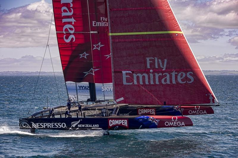 Emirates Team New Zealand testing the AC72 on the Hauraki Gulf, with a larger Code Zero than the AC75 - photo © Chris Cameron / ETNZ