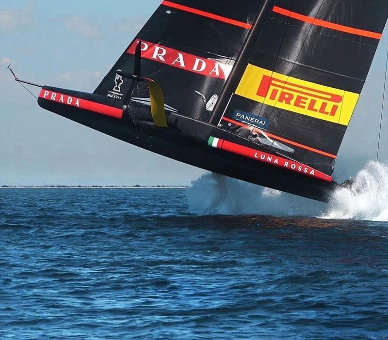 Catching some air on Luna Rossa during training in Sardinia - photo © Luna Rossa