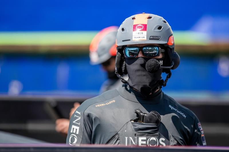 Ben Ainslie wearing a Henri-Lloyd face covering ahead of sailing - photo © C Gregory / INEOS Team UK
