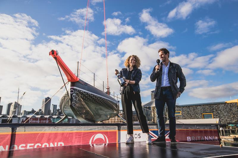 Ben Ainslie with Her Excellency Ms Laura Clarke, British High Commissioner for New Zealand in front of Britannia - photo © Harry KH / INEOS TEAM UK