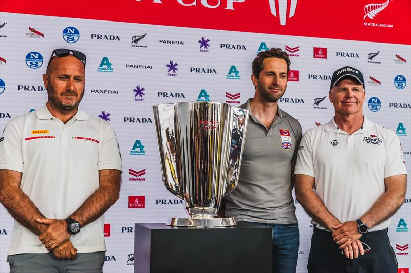 Ben Ainslie with Terry Hutchinson and Max Sirena, representing the three Challengers for the PRADA Cup - photo © C Gregory / INEOS TEAM UK
