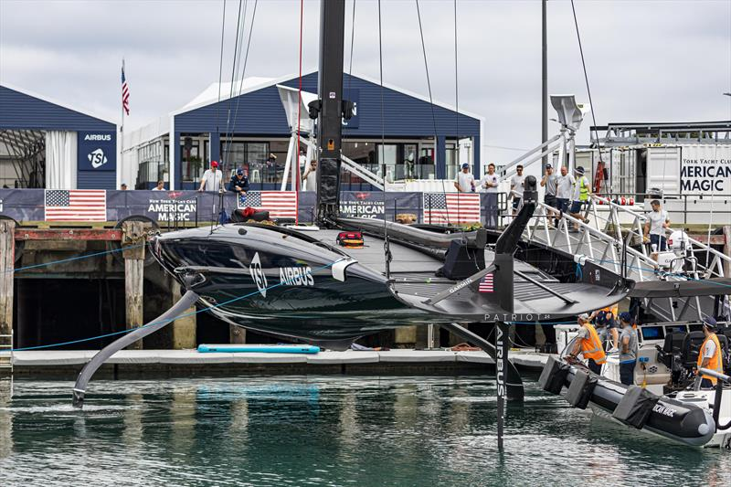 New York Yacht Club American Magic's PATRIOT is relaunched after her massive capsize and repairs photo copyright COR36 / Studio Borlenghi taken at  and featuring the AC75 class