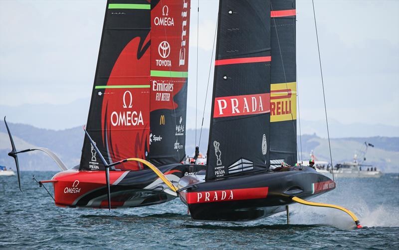 America's Cup match day 5 - a tight start gives Luna Rossa Prada Pirelli the advantage over Emirates Team New Zealand in race 8 - photo © ACE / Studio Borlenghi