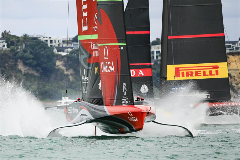 America's Cup match day 6 - Luna Rossa Prada Pirelli and Emirates Team New Zealand battle it out in race 9 photo copyright ACE / Studio Borlenghi taken at Royal New Zealand Yacht Squadron and featuring the AC75 class