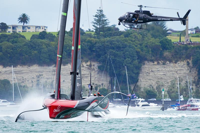 America's Cup match day 6 - helicopter following the action photo copyright ACE / Studio Borlenghi taken at Royal New Zealand Yacht Squadron and featuring the AC75 class
