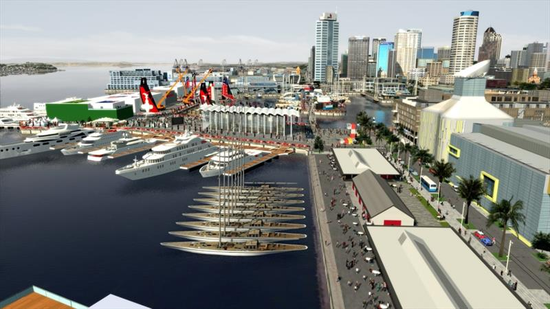 Graphic artist's impression of Viaduct Basin proposal looking along North Wharf towards the Event Centre - photo © Virtual Eye