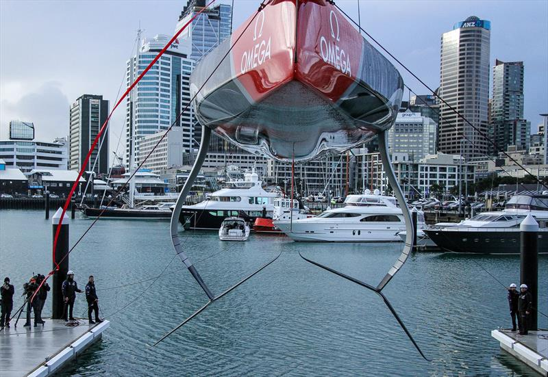 Emirates Team NZ launch the world's first AC75. The design was notable for the bustle around the centreline of the canoebody of the hull, the chines at the bow, and featured two different wings as is standard practice for testing. - photo © Richard Gladwell