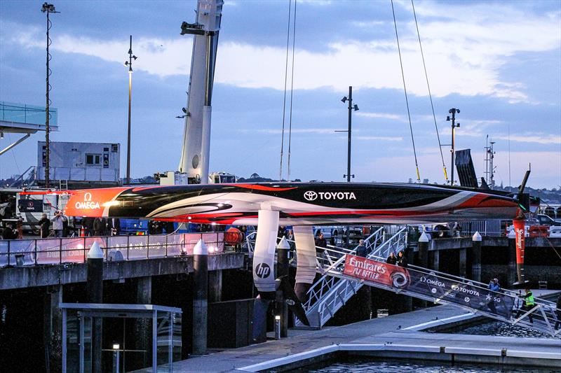 Emirates Team New Zealand's Te Arihe hangs suspended ahead of her naming - Waitemata - AC75, Auckland, September 6, - photo © Richard Gladwell