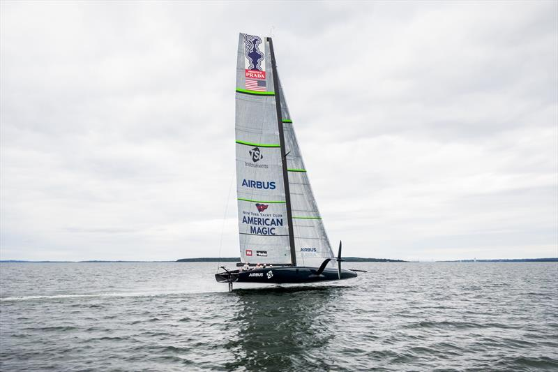 American Magic's AC75 during its first sail on Narragansett Bay near Newport, Rhode Island - Tuesday, September 10th.) photo copyright Amory Ross taken at New York Yacht Club and featuring the AC75 class