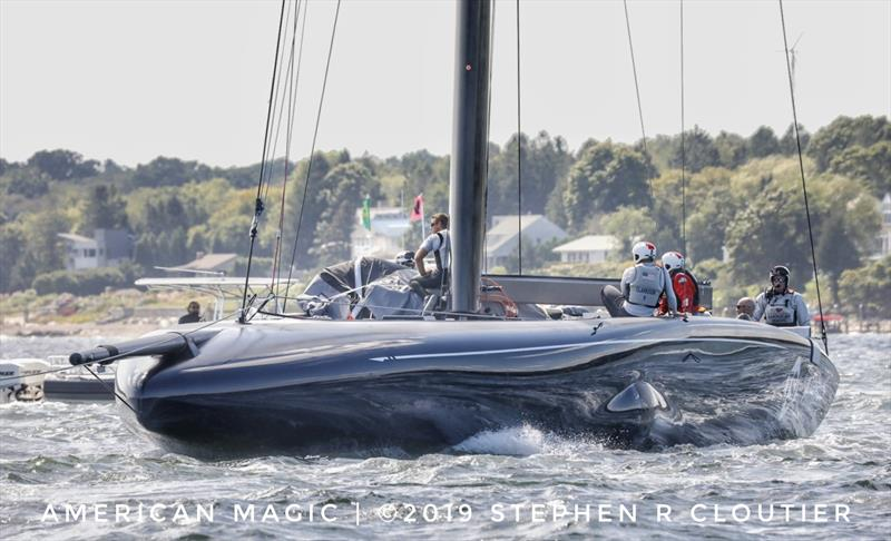AC75 - NYYC American Magic caught on the tow for more test sailing on Narragansett Bay, Newport RI - photo © Stephen R Cloutier / PhotoGroup.us