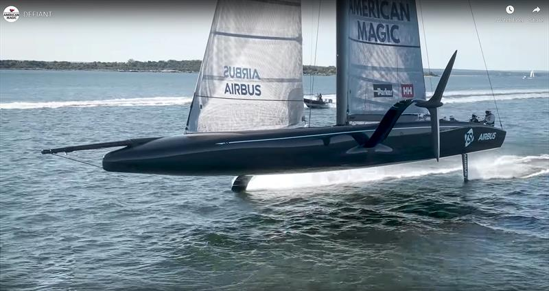 NYYC American Magic presents an interesting profile foiling fast in light winds - photo © NYYC American Magic