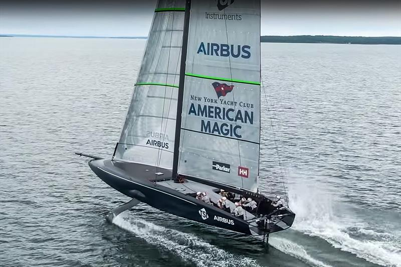 NYYC American Magic completes a foiling gybe during an early sail in light winds - photo © NYYC American Magic