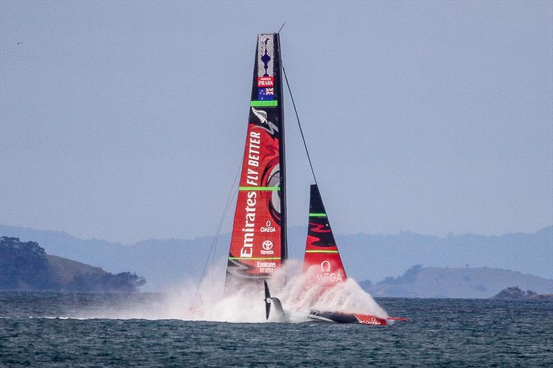 Emirates Team New Zealand takes a dive - Waitemata Harbour - September 22, 2019 - photo © Richard Gladwell