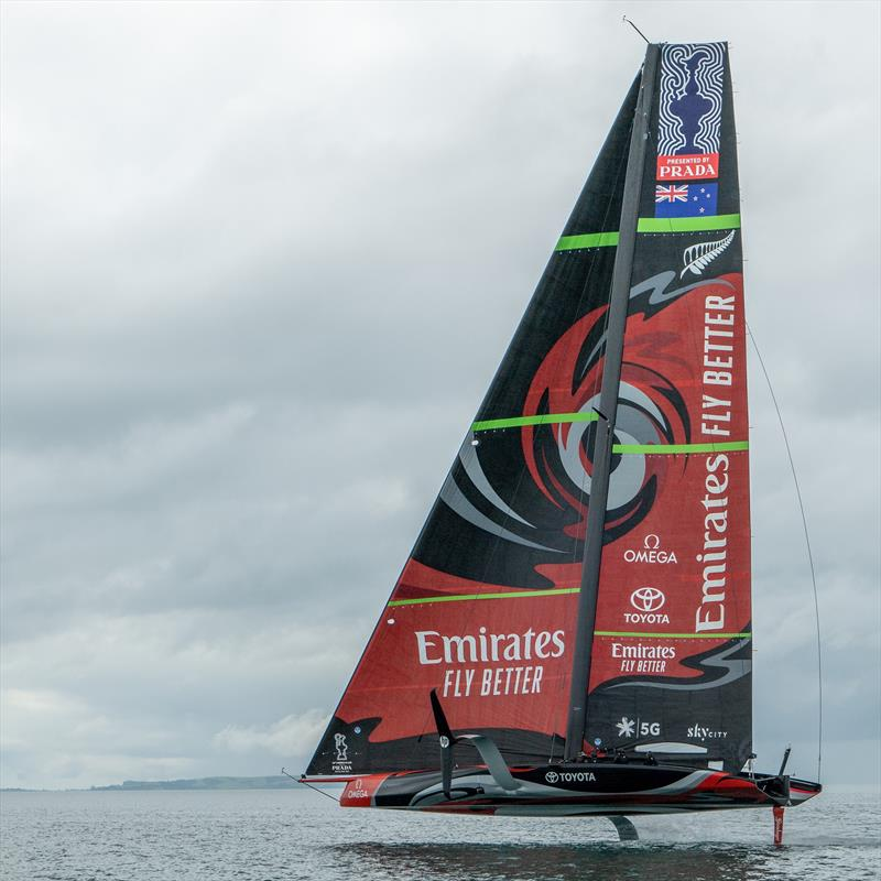 Te Aihe flies high in winds of 4-5kts before an issue with the tack of the AC75's Code Zero which blew up a few minutes after the first sail with the big extra. photo copyright Emirates Team New Zealand taken at Royal New Zealand Yacht Squadron and featuring the AC75 class