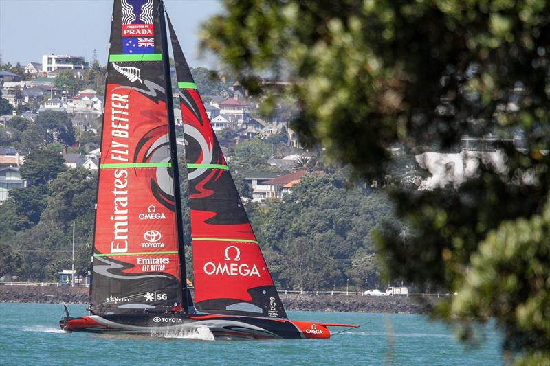Emirates Team NZ's first AC75 Te Aihe doing warm-up laps on the Waitemata ahead of a seven hour training session - November 4, 2019 photo copyright Richard Gladwell / Sail-World.com taken at Royal New Zealand Yacht Squadron and featuring the AC75 class
