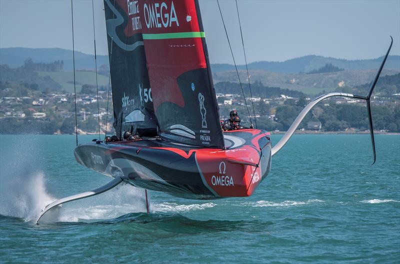 Emirates Team New Zealand's AC75 Te Aihe training off 'The Paddock' their training ground east of the Waitemata Harbour - photo © Emirates Team New Zealand