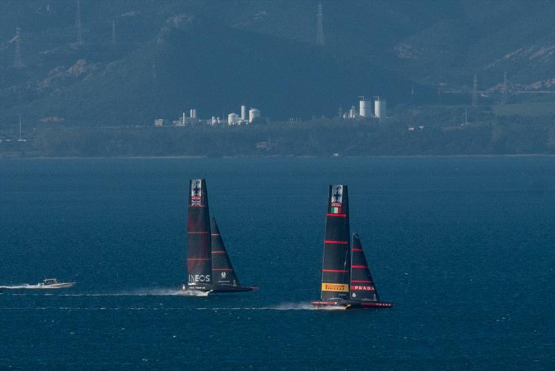 Luna Rossa apparently leads INEOS Team UK caught in a hook-up off Cagliari, Sardinia on January 18, 2020. Luna Rossa dropped her rig 10 days later. - photo © Francesco Nonnoi