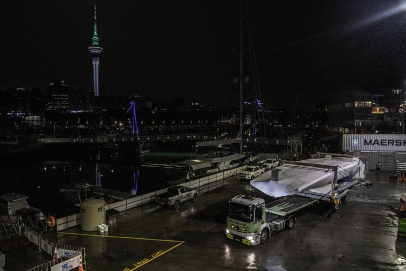 Emirates Team New Zealand's Te Aihe arrives home after four months away, May 26, 2020 photo copyright Emirates Team New Zealand taken at Royal New Zealand Yacht Squadron and featuring the AC75 class