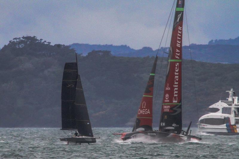 The AC75 crosses the AC9F- the Youth America's Cup class - Te Aihe - AC75 - Emirates Team New Zealand - July 15, Waitemata Harbour, Auckland, New Zealand photo copyright Richard Gladwell, Sail-World.com / nz taken at Royal New Zealand Yacht Squadron and featuring the AC75 class