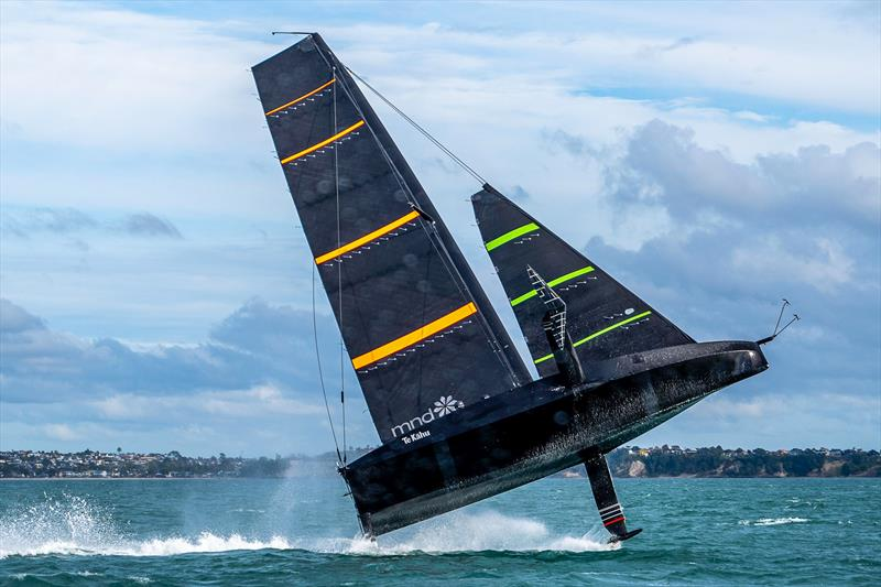 Emirates Team NZ's test boat Te Kahu does a sky leap off Auckland's North Shore - July 2020 - photo © Emirates Team New Zealand