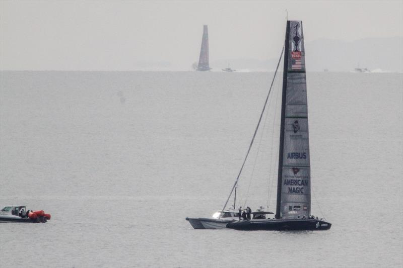 American Magic's Defiant with Emirates Team NZ's Te Aihe sailing in the background - August 10, 2020 - Hauraki Gulf - 36th America's Cup - photo © Richard Gladwell / Sail-World.com