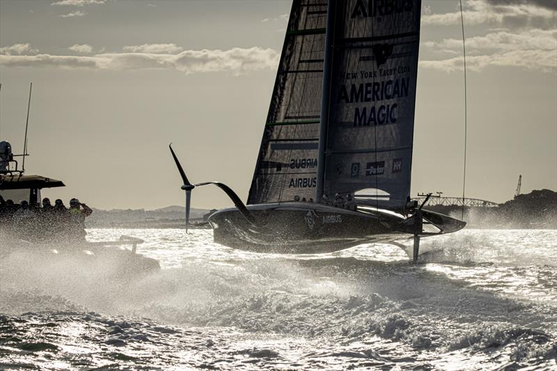 American Magic carves up the Waitemata in her first test sail in 21 kts - October 16, 2020 photo copyright Will Ricketson/American Magic taken at New York Yacht Club and featuring the AC75 class