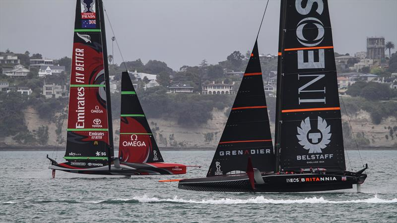 INEOS Team UK and Emirates Team NZ - Waitemata Harbour - November 30, 2020 - 36th America's Cup - photo © Richard Gladwell / Sail-World.com