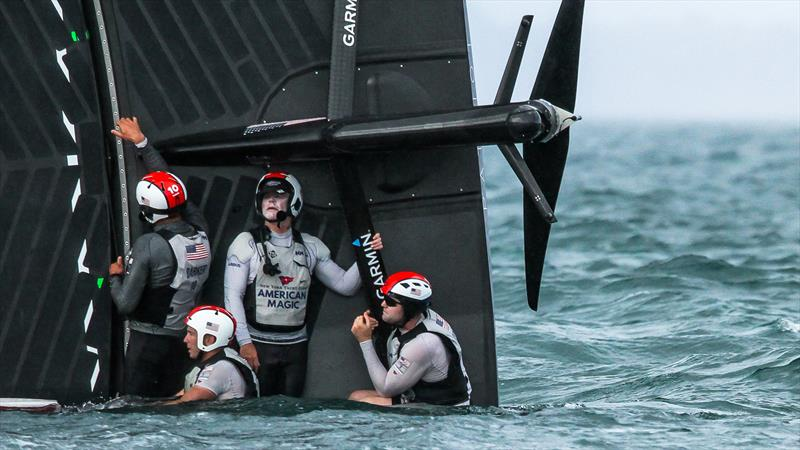American Magic's afterguard waits for the chase boat - Patriot - Hauraki Gulf - January 17, 2021 - Prada Cup - 36th America's Cup - photo © Richard Gladwell - Sail-World.com / nz