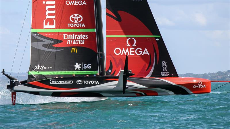 Starboard foil side view -  Emirates Team New Zealand - January 25, 2021 - Waitemata Harbour - America's Cup 36 photo copyright Richard Gladwell / Sail-World.com taken at Royal New Zealand Yacht Squadron and featuring the AC75 class