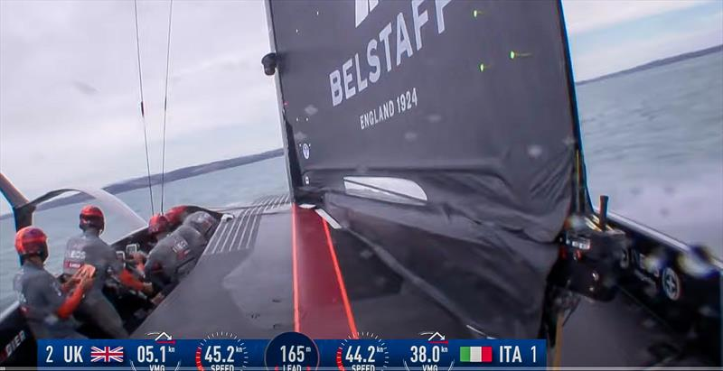 INEOS Team UK has a main boom between the mainsail skins, which distort as they pass over the boom. The mainsail skirt doesn't seal with the cockpit deck. - February 2021 photo copyright 36ACTV taken at Royal Yacht Squadron and featuring the AC75 class