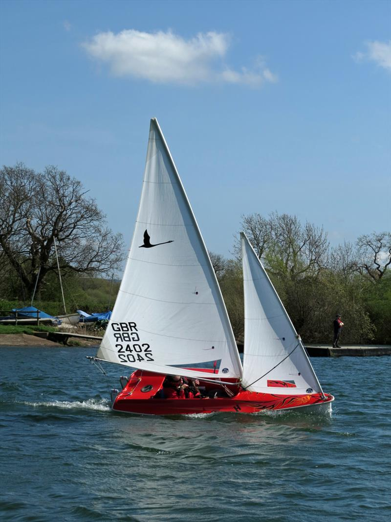 Liberty on the beat during the National Hansa TT Series Round 1 at Frampton on Severn photo copyright David Greenfield taken at Frampton on Severn Sailing Club and featuring the Hansa class