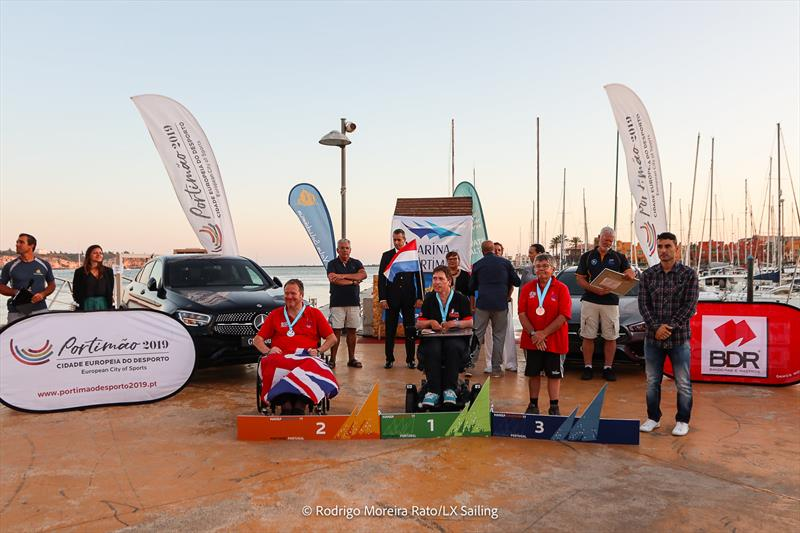 Liberty open class prize giving during the Hansa Europeans at Portimão, Portugal photo copyright Rodrigo Moreira Rato / LX Sailing taken at  and featuring the Hansa class