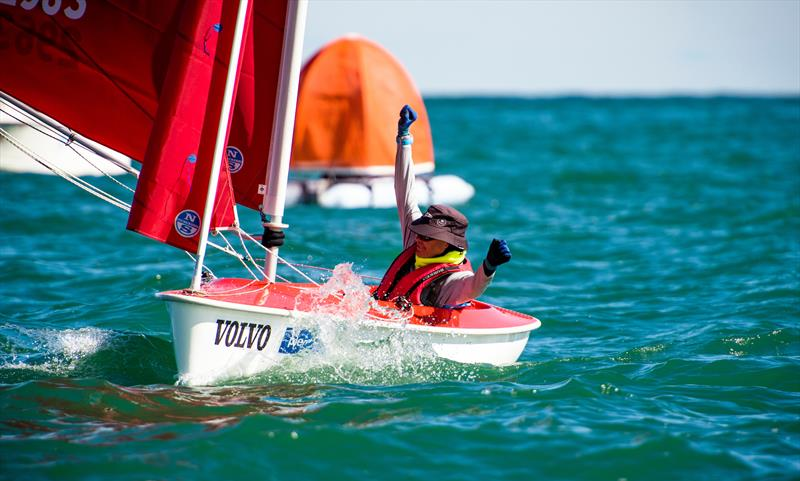 Chris Symonds (GBR) celebrates his win in the Hansa Mens  - Final Day - Para Sailing World Championship, Sheboygan, Wisconsin, USA.  - photo © Cate Brown