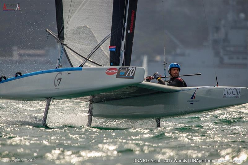Open top Brit Tom Phipps (GBR) during the A Class Cat Worlds at the WPNSA photo copyright Gordon Upton / www.guppypix.com taken at Weymouth & Portland Sailing Academy and featuring the A Class Catamaran class