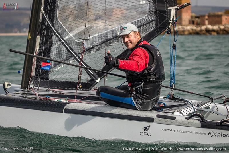 Classic champion Andrew Landenberger (AUS) in the A Class Cat Worlds at the WPNSA - photo © Gordon Upton / www.guppypix.com