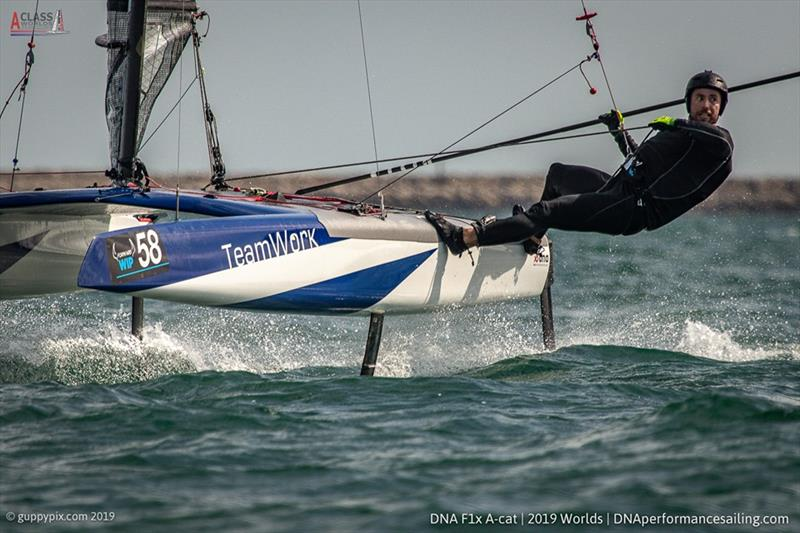 Nils Palmieri looking for the finish during the A Class Cat Worlds at the WPNSA - photo © Gordon Upton / www.guppypix.com