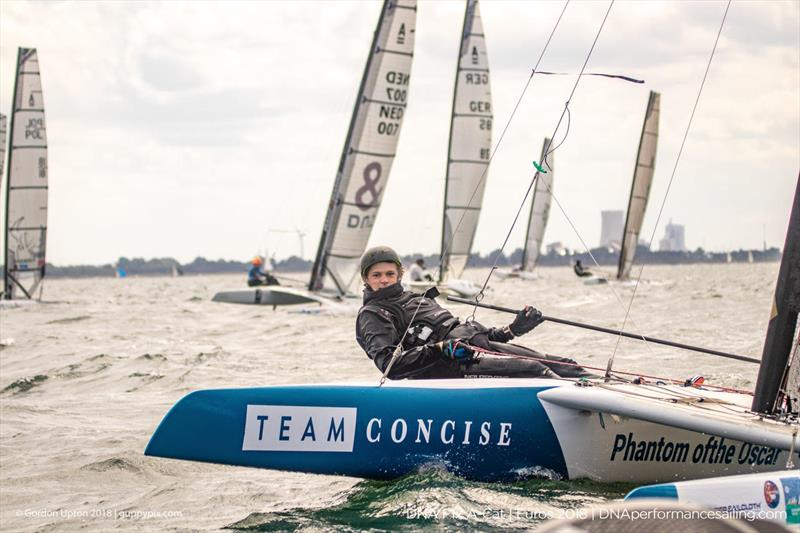 Teenage GRB sailor Oscar Lindley-Smith nailed the pin well in two races at his first A Cat regatta on day 2 of the A Class Catamaran European Championships in Warnemunde - photo © Gordon Upton / www.guppypix.com