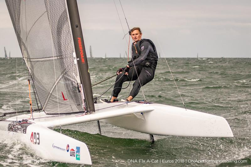 Oracle Team USA star Kyle Langford enjoying his first A Cat event on day 2 of the A Class Catamaran European Championships in Warnemunde - photo © Gordon Upton / www.guppypix.com