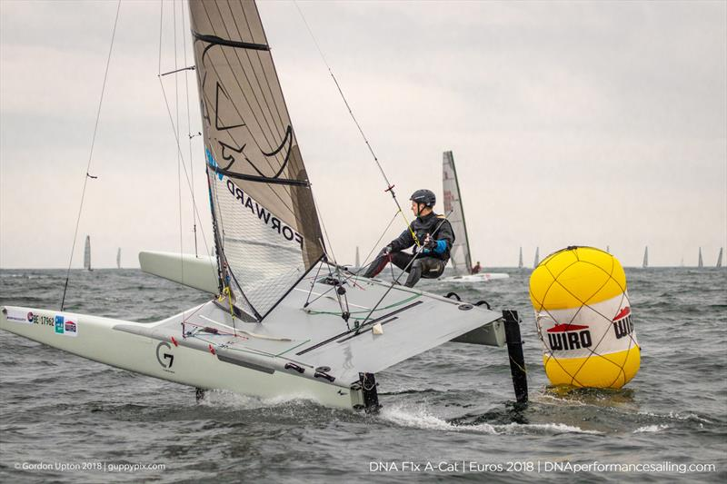 SUI Champion Sandro Cavieziel's modified Scheurer G7 has an epenage filling in the space aft of the rear beam for better aerodynamics and drag reduction - seen on day 3 of the A Class Catamaran European Championships in Warnemunde - photo © Gordon Upton / www.guppypix.com