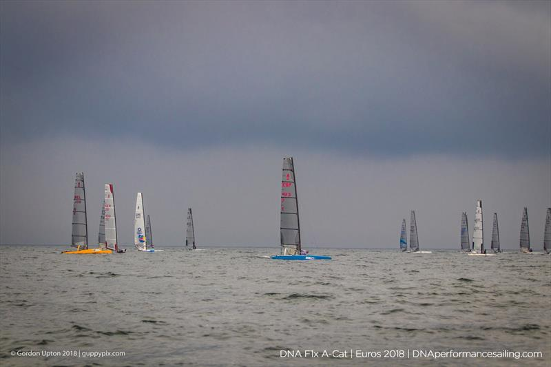 Running before the storm - the fleet ordered to head home -  on day 3 of the A Class Catamaran European Championships in Warnemunde - photo © Gordon Upton / www.guppypix.com