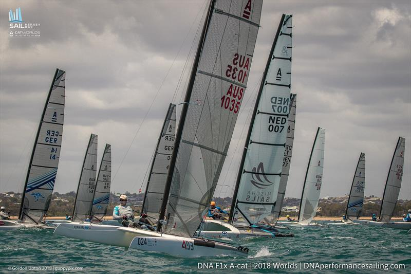 David Brewer -  Int A-Cat Worlds - Day 2 - Hervey Bay, Queensland - November 19, 2018 photo copyright Gordon Upton / www.guppypix.com taken at Hervey Bay Sailing Club and featuring the A Class Catamaran class