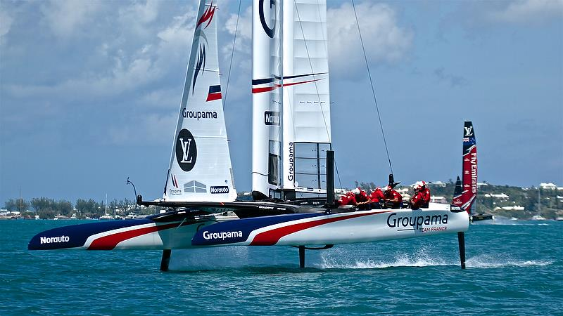 Groupama Team France had the most elegant boat graphics in Bermuda - also reflected in their bases - photo © Richard Gladwell