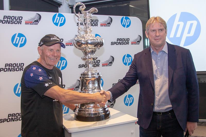 Emirates Team NZ CEO, Grant Dalton Emirates Team New Zealand with Grant Hopkins, Managing Director of HP New Zealand - HP sponsorship announcement, April 2019 - photo © Hamish Hooper / ETNZ