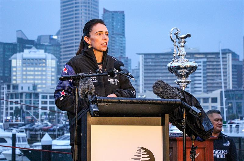 Prime Minister Jacinda Ardern  speaking at Emirates Team New Zealand AC75 launch on September 6, 2019 photo copyright Richard Gladwell / Sail-World.com taken at Royal New Zealand Yacht Squadron and featuring the ACC class